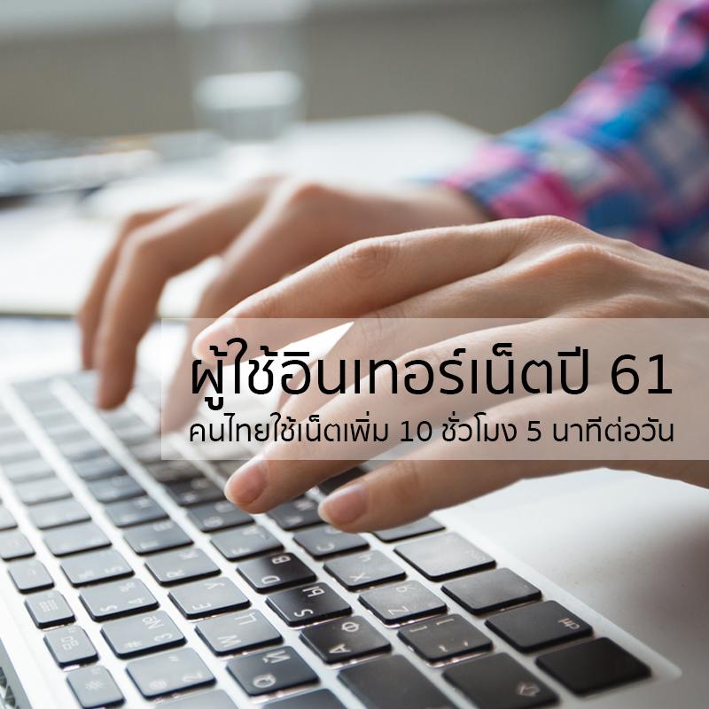 พฤติกรรมการใช้อินเทอร์เน็ตของคนไทยในปี 2561